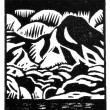 Mountain Lake Woodcut